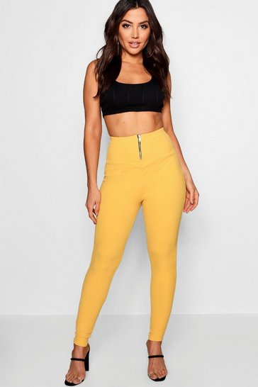 Womens Amber Highwaist Zip Front Crepe Leggings