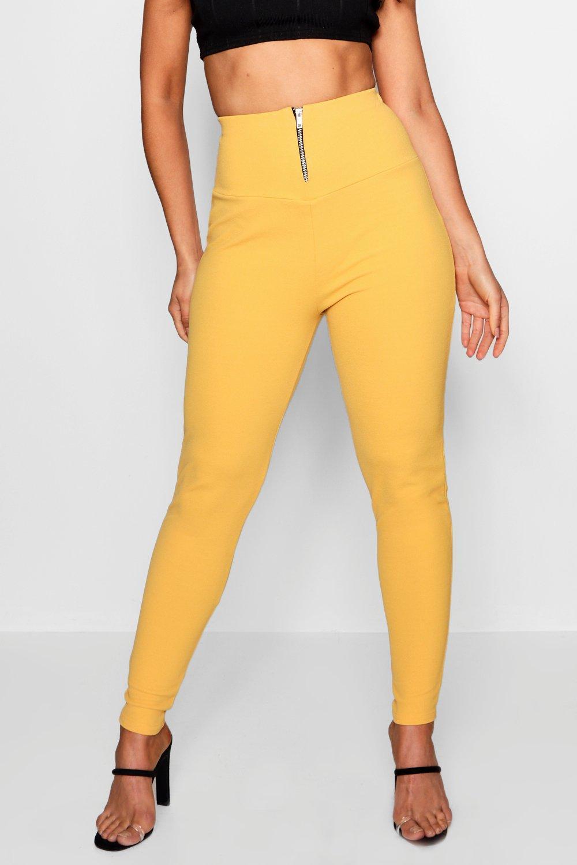 Crepe Front Leggings Zip Highwaist amber CW751xn