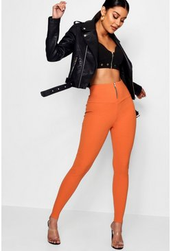 Womens Paprika Highwaist Zip Front Crepe Leggings