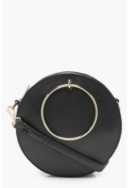 Molly Ring Detail Round Bag, Black, MUJER