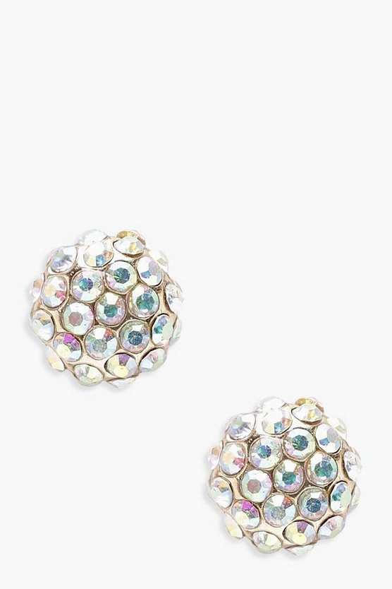 Womens Multi Holographic Diamante Ball Stud Earrings