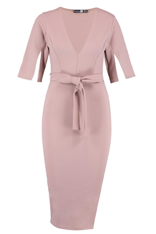 Midi Split Sleeve Tie Waist Kimono Dress q6qCI