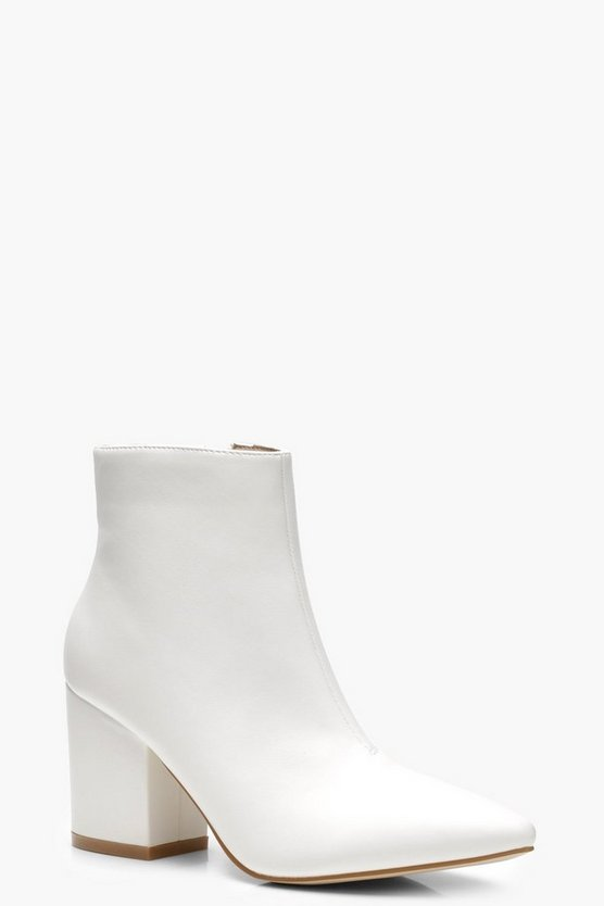 Pointed Toe Block Heel Ankle Shoe Boots