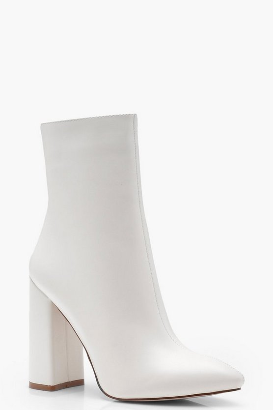 Womens White Pointed Toe Sock Boots
