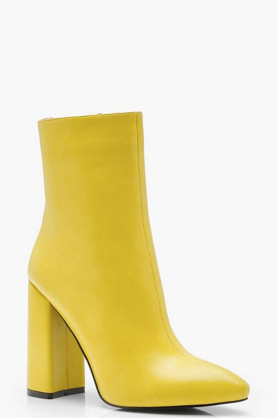 Womens Yellow Pointed Toe Sock Boots