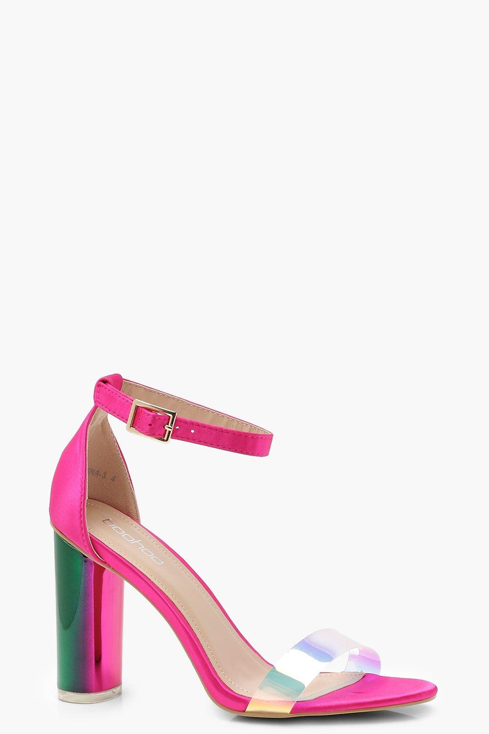 bc055799f864 Iridescent Strap Block Heels. Hover to zoom