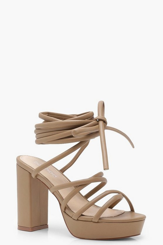 Cross Strap Tie Up Platform Heels