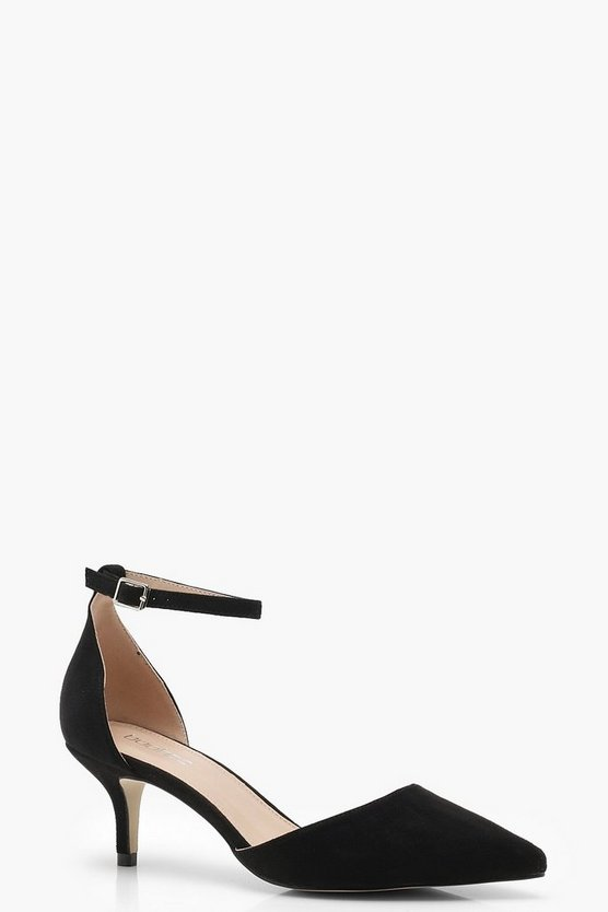 Suedette Kitten Heel With Ankle Bands