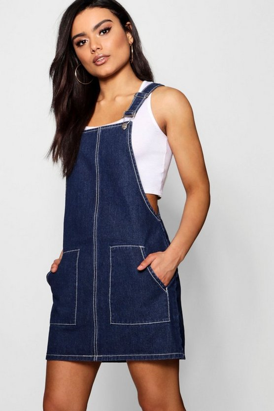 Womens Indigo Contrast Stitch Denim Pinafore Dress