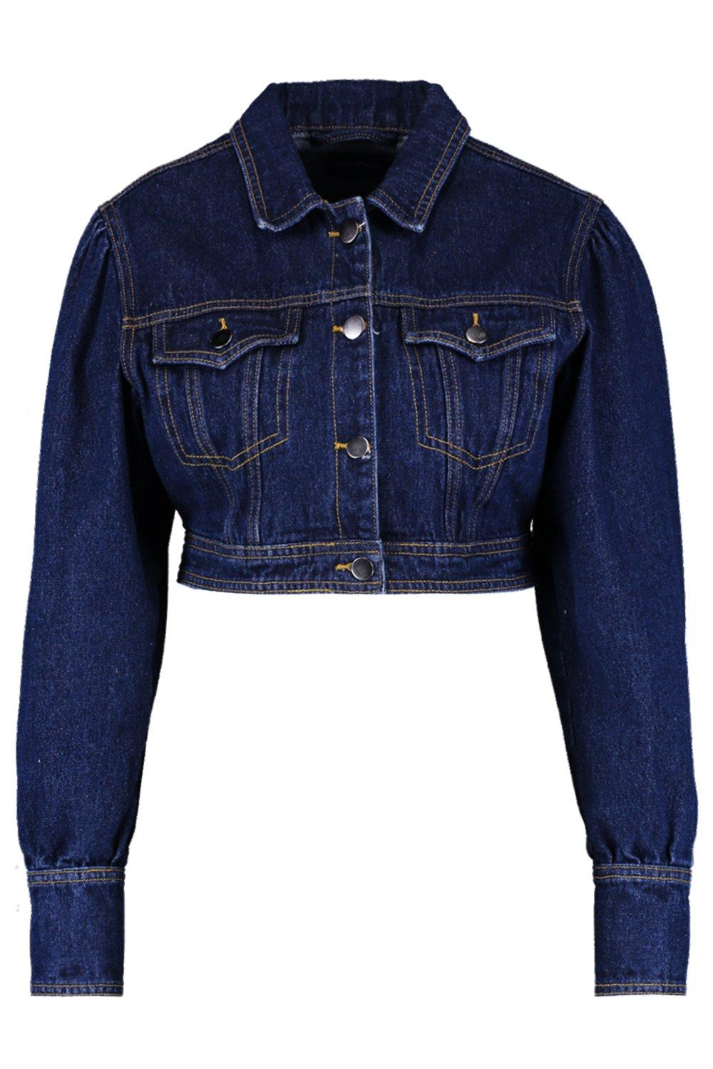 Denim Cropped Stitch Contrast indigo Jacket wSBXUn6qg