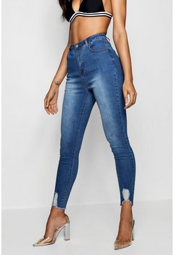 Mid blue Mid Rise Ultra Distressed Hem Skinny Jeans