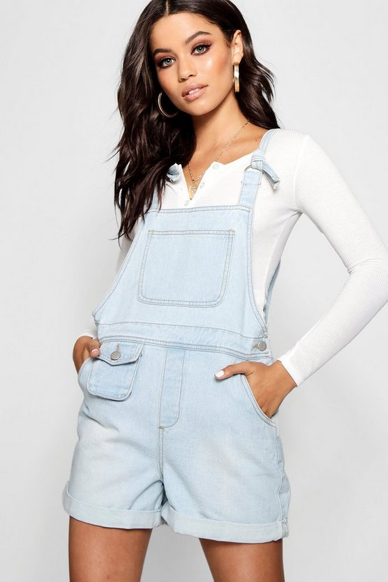 D-Ring Tie Shoulder Denim Dungaree Shorts