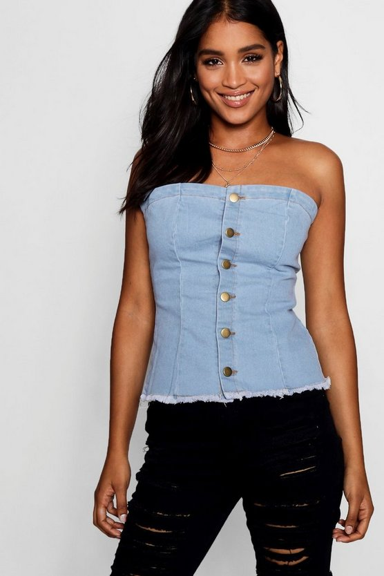 Button Front Denim Corset