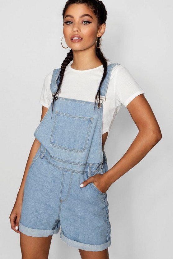 Oversize Boyfriend Denim Dungaree Shorts