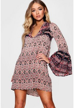 Womens Red Wide Sleeve Mixed Print Skater Dress