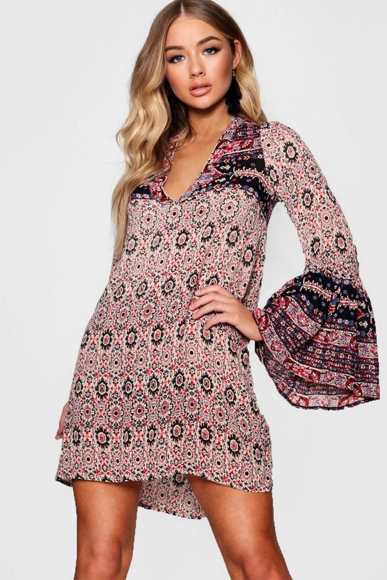 Wide Sleeve Mixed Print Skater Dress
