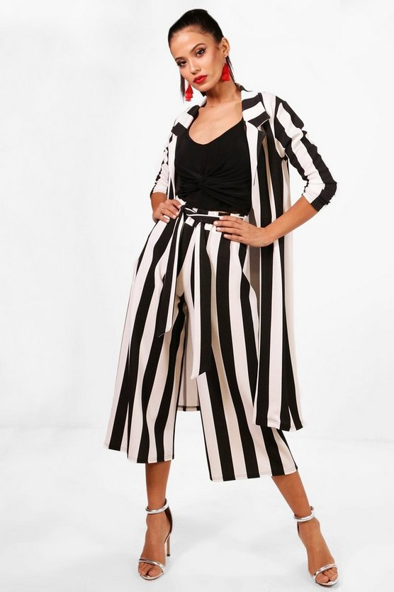 Big Monochrome Stripe Belted Trouser