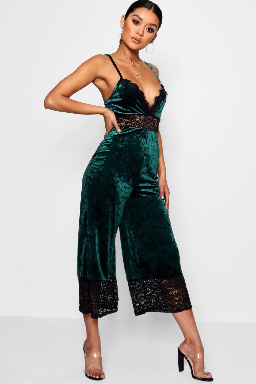 Cami Lace Trim Velvet Jumpsuit emerald 7qqwXEU