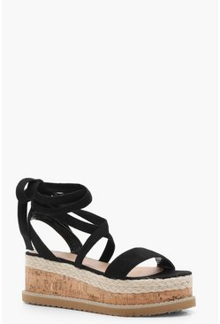 Flatform Espadrille Tie Up Sandals, Black