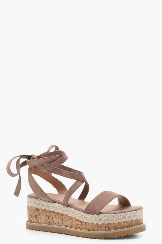 Flatform Espadrille Tie Up Sandals, Mocha, DAMEN