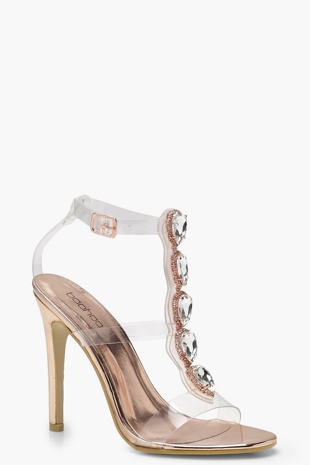 f9b4453c44 Clear Strap Embellished Heels | Boohoo