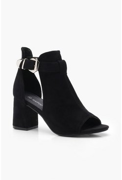 Buckle Cut Work Shoe Boots, Black, Donna