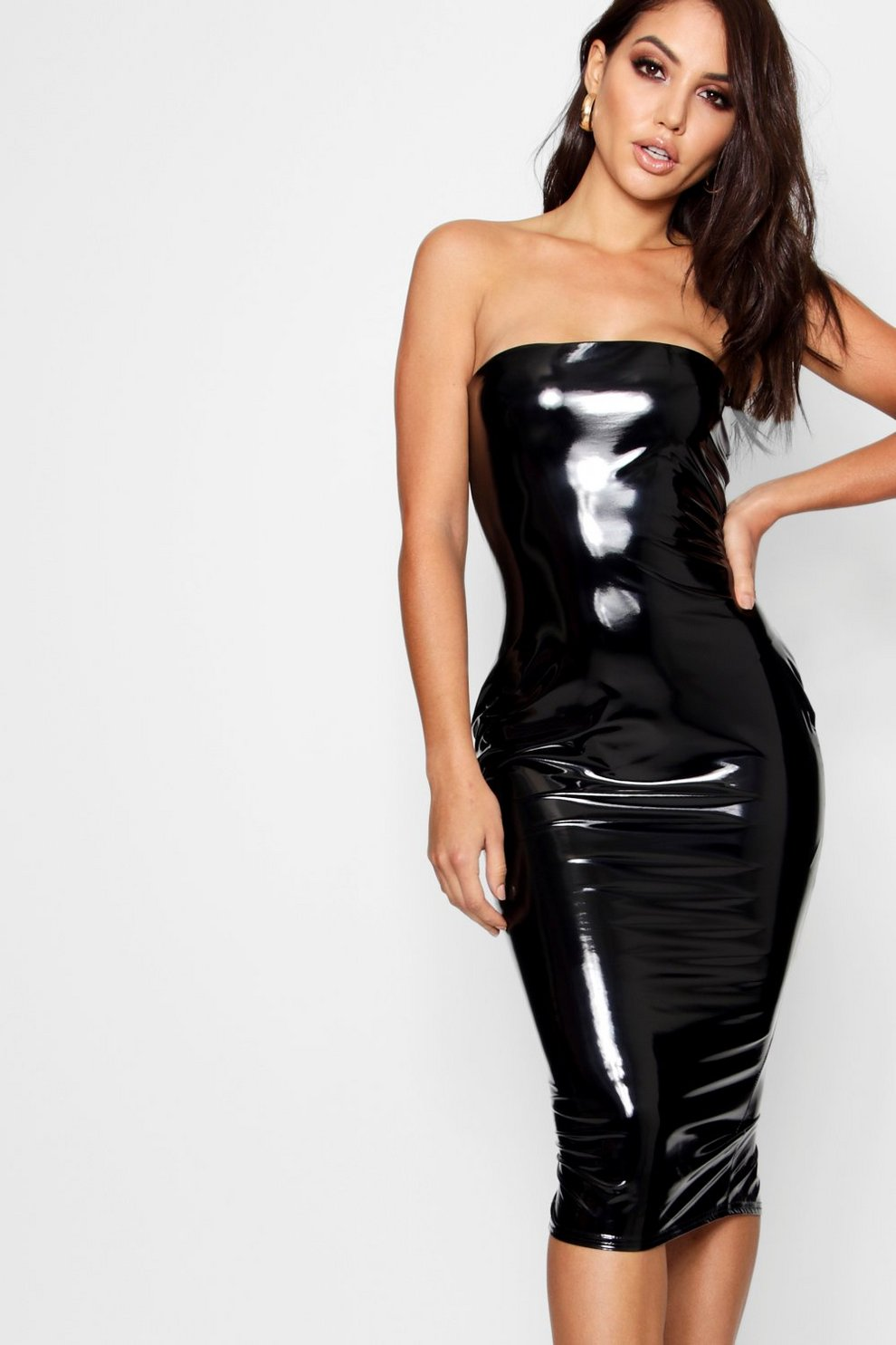 56e440ff839 Black Vinyl Strapless Dress – Little Black Dress