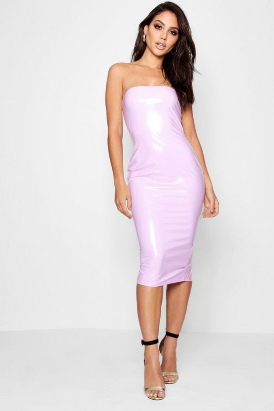 Bandeau Vinyl Midi Dress