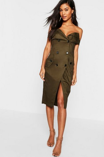 Womens Khaki Off the Shoulder Thigh Split Tux Dress
