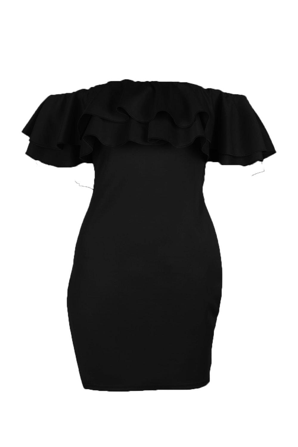 NEW-Boohoo-Womens-Jen-Double-Frill-Off-Shoulder-Bodycon-Dress-in-Polyester