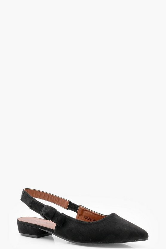 Bow Detail Sling Back Pointed Flats