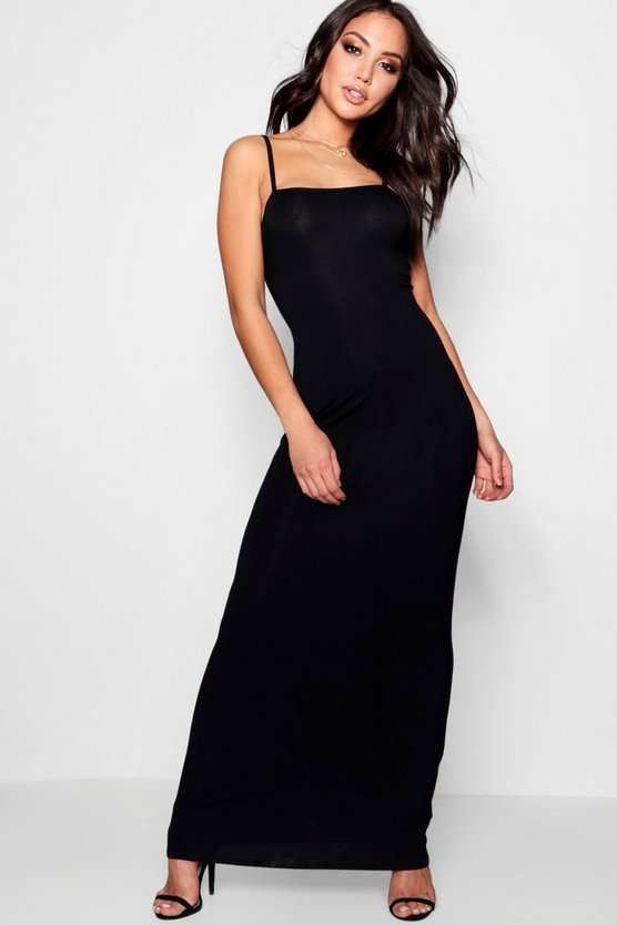 Extreme Square Neck Strappy Maxi Dress