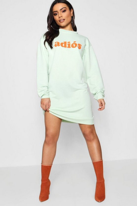 Womens Green Adios Sweat Dress