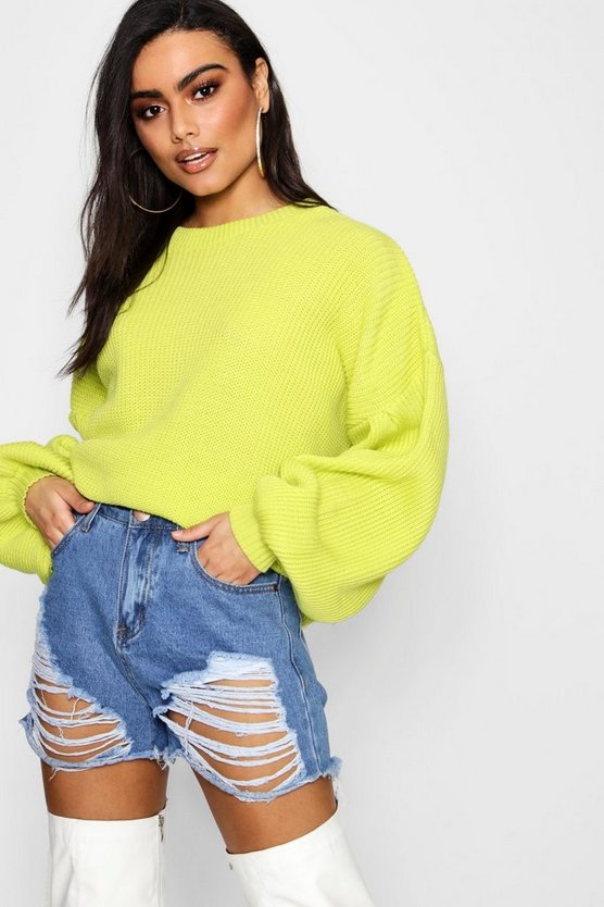 Oversized Balloon Sleeve Jumper