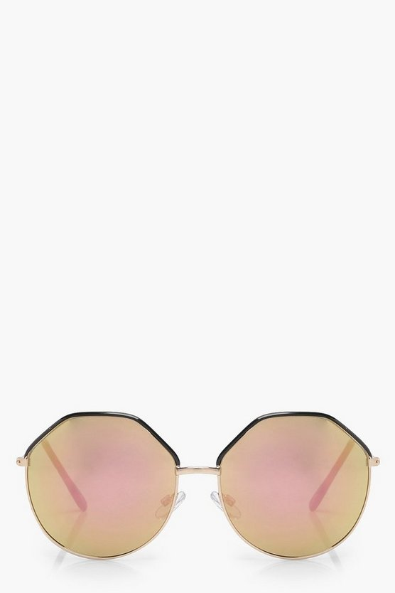 Sarah Hexagonal Round Mirror Lens Sunglasses