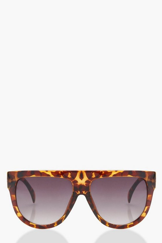 Flat Top Brow Tortoiseshell Sunglasses