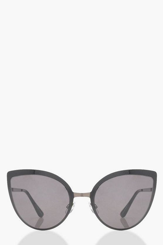 Oversized Smoke Cat Eye Sunglasses