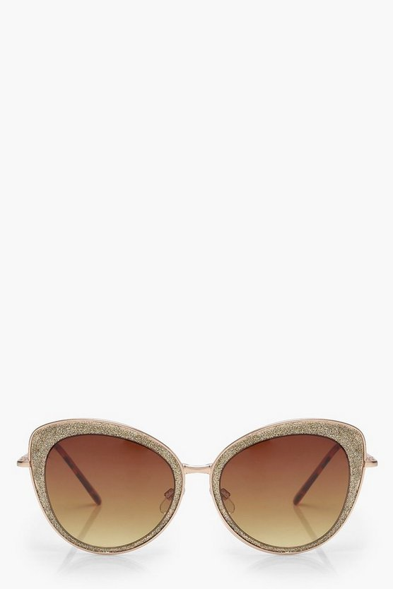 Oversize Glitter Cat Eye Sunglasses
