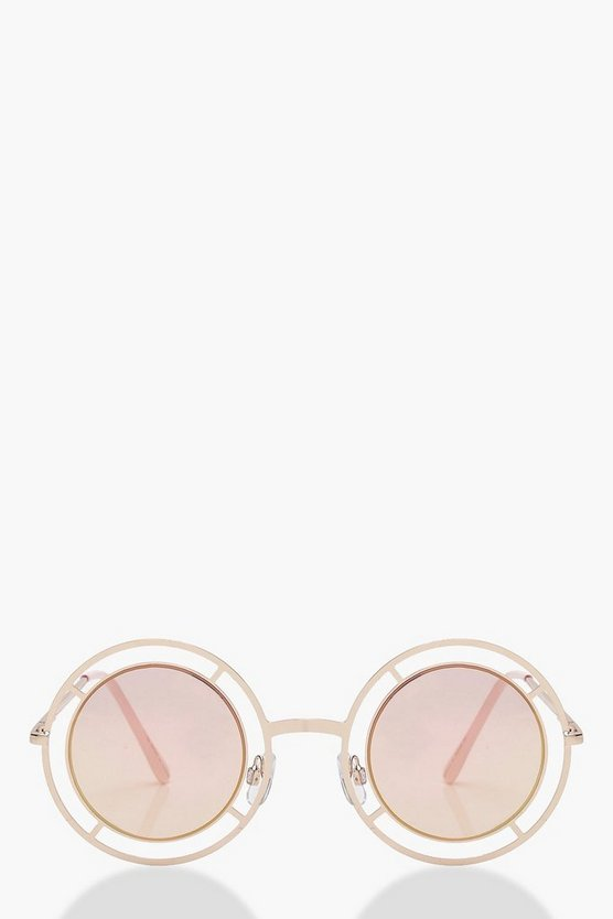 Cut Out Round Frame Pink Lens Sunglasses