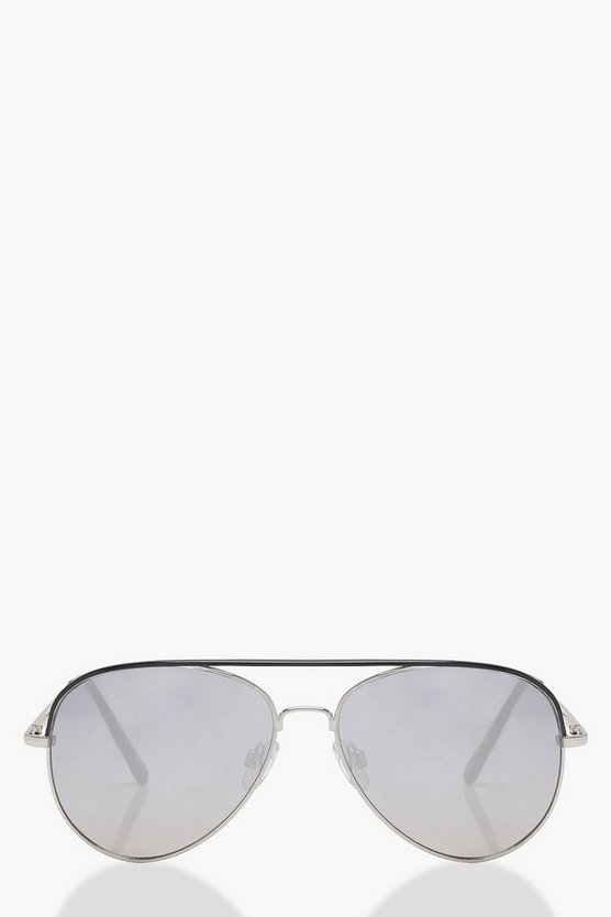 Contrast Brow Aviator Sunglasses