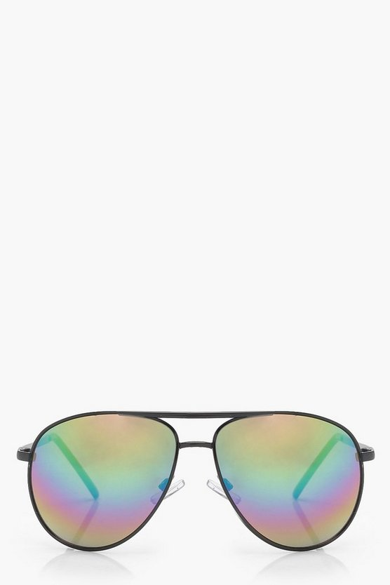 Rainbow Retro Aviator Sunglasses, Black, DAMEN