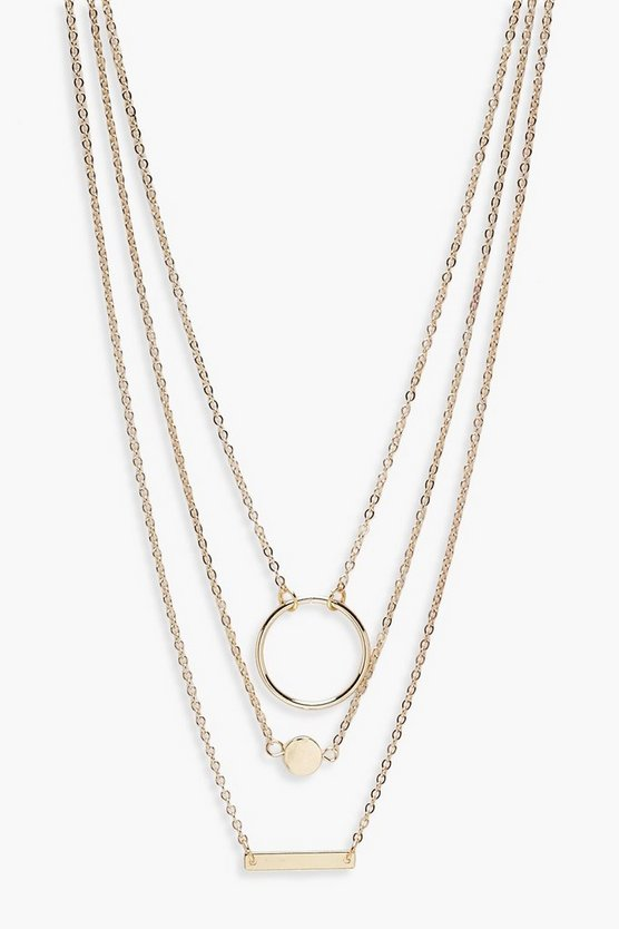 Olivia Circle & Bar Layered Necklace