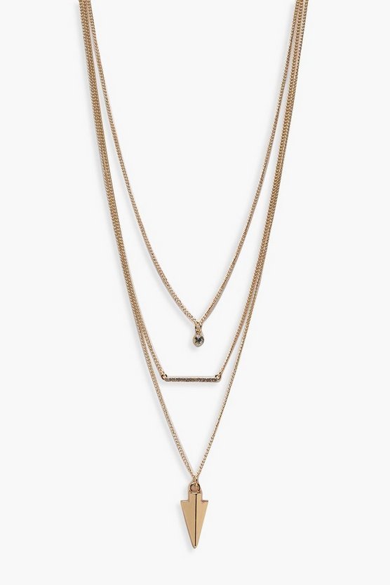 Womens Gold Diamante & Arrow Layered Necklace