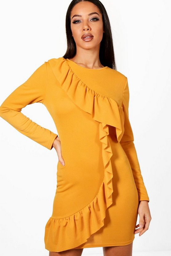 Ruffle Front Long Sleeved Bodycon Dress