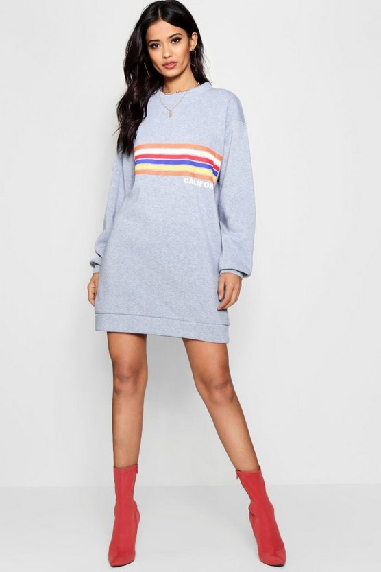 California Rainbow Stripe Sweat Dress