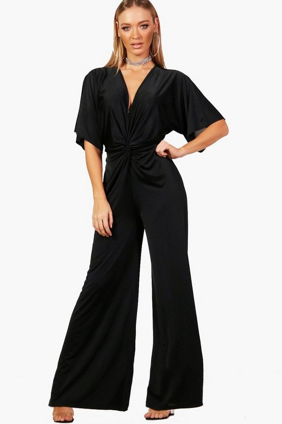 Twist Front Wide Leg Jumpsuit