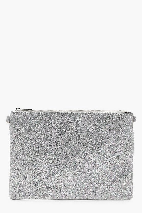 Metallic Clutch Bag With Chain