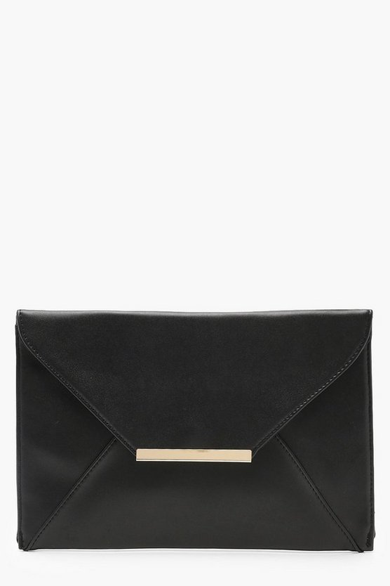 Womens Black Stitch Detail Envelope Clutch