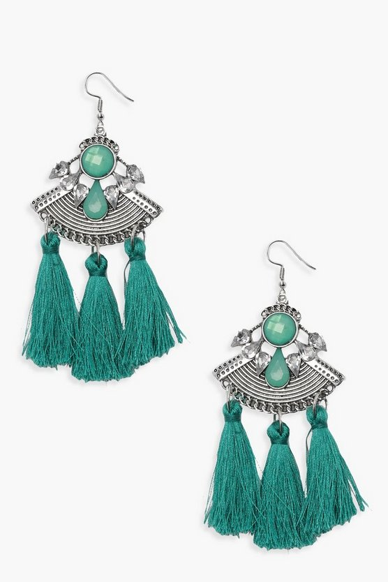 Statement Plate Stone Earrings