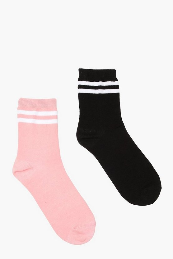 2 Pack Sports Stripe Ankle Socks